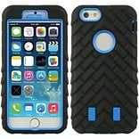 Insten Hard Hybrid Rubber Coated Silicone Cover Case for Apple iPhone 6 / 6s - Black/Blue