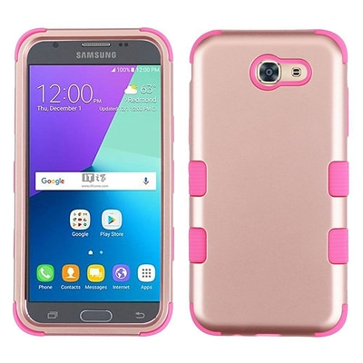 Insten Tuff Hard Dual Layer Silicone Cover Case For Samsung Galaxy J3 (2017) - Rose Gold/Pink
