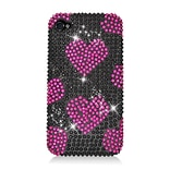 Insten Hearts Hard Rhinestone Case For Apple iPhone 4/4S - Hot Pink/Black