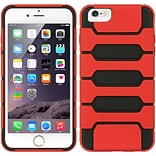 Insten Hard Dual Layer Rubber Silicone Case for Apple iPhone 6s Plus / 6 Plus - Black/Red