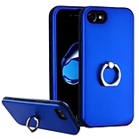 Insten Hard Dual Layer Rubber Silicone Cover Case w/Ring stand For Apple iPhone 7 - Dark Blue/Black