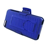 Insten Hard Rubber Cover Stand Case Holster Clip for Apple iPhone 5C, Blue