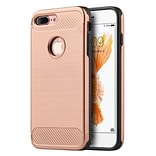 Insten Carbon Tech Silk Hybrid Hard PC/TPU Dual Layer Cover Case For Apple iPhone 7 Plus - Rose Gold