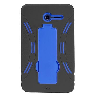 Insten Skin Dual Layer Rubber Hard Case w/stand For Alcatel One Touch Pixi 7 - Black/Blue
