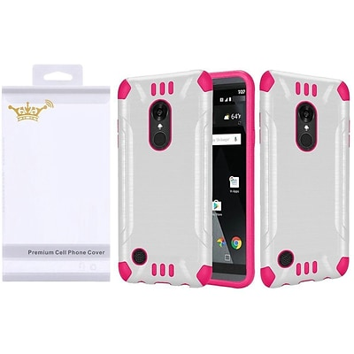 Insten Slim Armor Brushed Metal Design Hybrid Hard PC/Silicone Case For LG Aristo / K8 (2016) / LV3 - White/Hot Pink