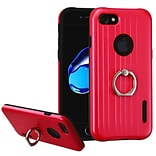 Insten Hard Dual Layer Rubberized Silicone Cover Case w/Ring stand For Apple iPhone 7 - Red/Black