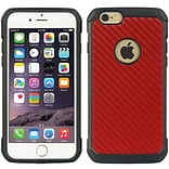 Insten Hybrid Tough Anti-Shock Black Tpu+Red Carbon Fiber Pc For Iphone 6 / 6S