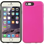 Insten Hard TPU Case w/card holder For Apple iPhone 6 / 6s - Hot Pink/Black