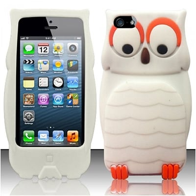 Insten For iPhone SE 5 3D Owl Silicon Case - White 3D Owl