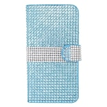 Insten Leather Wallet Rhinestone Case with Card slot For iPhone 6s Plus / 6 Plus - Light Blue/Silver