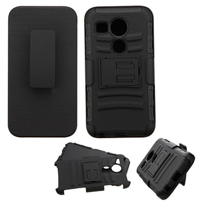 Insten Car Armor Hard Hybrid Shockproof Plastic Silicone Cover Case w/Holster For LG Google Nexus 5 - Black