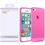 Insten For Apple iPhone SE 5 5S Crystal Transparent TPU Rubber Skin Gel Case - Hot Pink