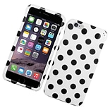 Insten Polka Dots Hard Rubberized Cover Case for iPhone 6s Plus / 6 Plus - White/Black