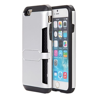 Insten Hybrid Hard PC/TPU Dual Layer Clip Card Case with Lock Stand For Apple iPhone 6 / 6s - Silver/Black