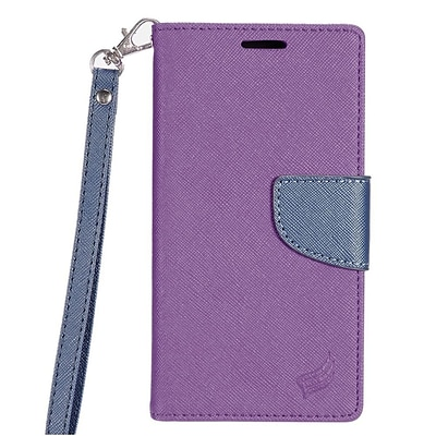Insten Folio Leather Fabric Cover Case Lanyard w/stand/card slot For LG K3 LS450 - Purple/Dark blue