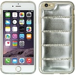 Insten Rubber Leather Case w/Diamond For Apple iPhone 6 / 6s - Silver