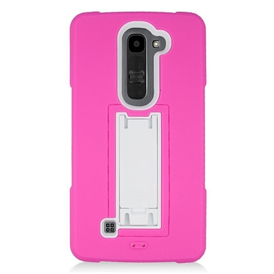 Insten Symbiosis Gel Dual Layer Rubber Hard Case with stand For LG Volt 2 - Hot Pink/White