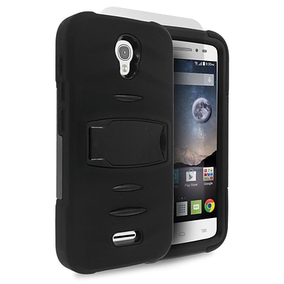 Insten Skin Dual Layer Rubber Hard Case with stand For Alcatel One Touch Pop Astro - Black