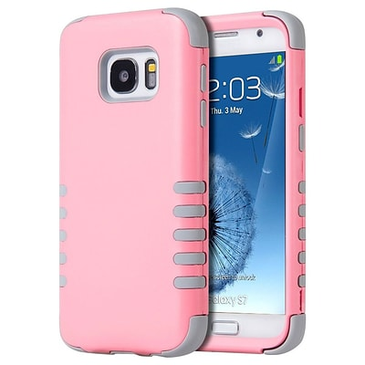 Insten 3 Pieces Hybrid Dual Layer Hard PC/Silicone Back Case For Samsung Galaxy S7 - Light Pink/Gray