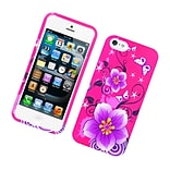 Insten Flowers Hard Rubber Case For Apple iPhone 5S 5 SE - Hot Pink/Purple