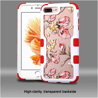 Insten Natural Frame Transparent PC Back TUFF Vivid Hybrid Case For Apple iPhone 7 Plus/ 8 Plus, Ivory White/Clear/Red