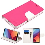 Insten Liner MyJacket Flip Wallet Credit Card Leather Stand Case For LG G6 - Hot Pink/White