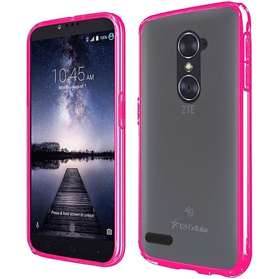 Insten Hard Dual Layer Crystal TPU Case w/Installed For ZTE Carry / Zmax Pro - Clear/Hot Pink