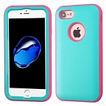 Insten Verge Hard Hybrid Rubber Silicone Cover Case For Apple iPhone 7 - Teal/Pink
