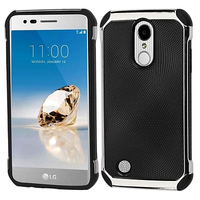 Insten Astronoot Dual Layer Hybrid Case For LG Aristo/Fortune/K8 (2017)/LV3/Phoenix 3 - Black Dots(Silver)/Black