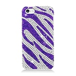 Insten Zebra Hard Diamond Cover Case For Apple iPhone 5C, Purple/Silver