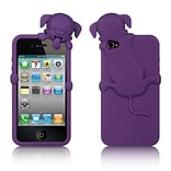Insten High-End Dog Design Silicone Skin Back Gel Soft Case Cover For Apple iPhone 4 / 4S - Purple