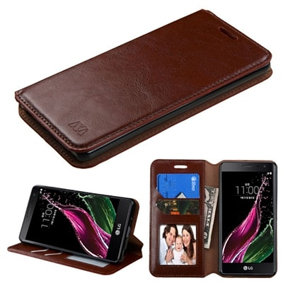Insten Book-Style Leather Fabric Case w/stand/card holder/Photo Display For LG Class - Brown