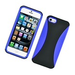 Insten Dual Layer Hybrid TPU Rubber Candy Skin Case Cover for Apple iPhone 5 / 5S - Blue/Black