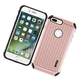Insten Carry On Hybrid Dual Layer Rubberized Hard Silicone Case Cover For Apple iPhone 7 Plus - Rose