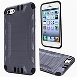 Insten Hard Dual Layer Rubberized Silicone Case For Apple iPhone 5/5S/SE - Gray/Black