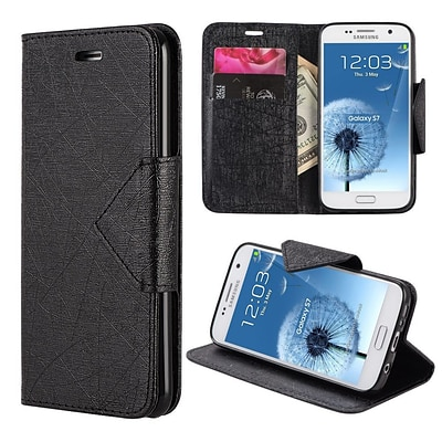 Insten Pyramid Leather Wallet Flip Credit Card Stand Case For Samsung Galaxy S7 - Black