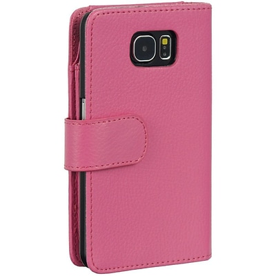 Insten Full Size Flip Leather Wallet Pouch Case Cover For Samsung Galaxy S6 - Hot Pink