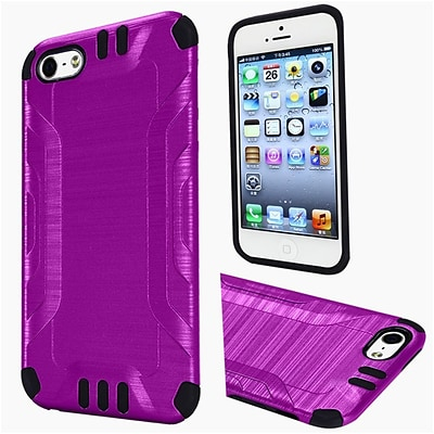 Insten Hard Dual Layer Rubber Silicone Cover Case For Apple iPhone 5/5S/SE - Purple/Black