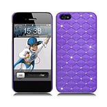 Insten Hard Rubberized Case with Diamond for iPhone 5S 5 SE - Purple