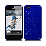 Insten Hard Rubberized Cover Case with Diamond for iPhone 5S 5 SE - Blue