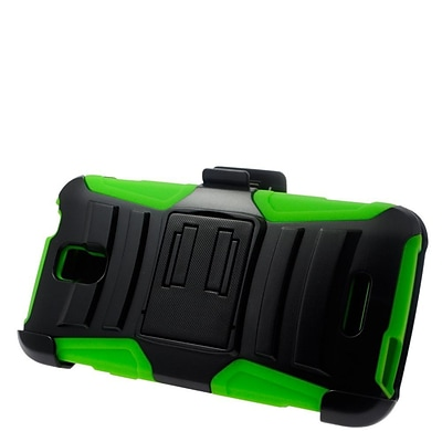 Insten Stand Dual Layer Hybrid Case with Holster For Alcatel One Touch Elevate - Black/Green