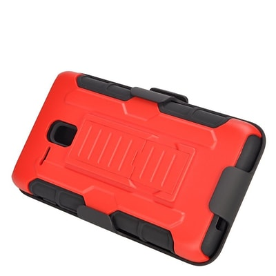 Insten Hard Hybrid Plastic Silicone Stand Case with Holster For Alcatel One Touch Fierce XL - Red/Black