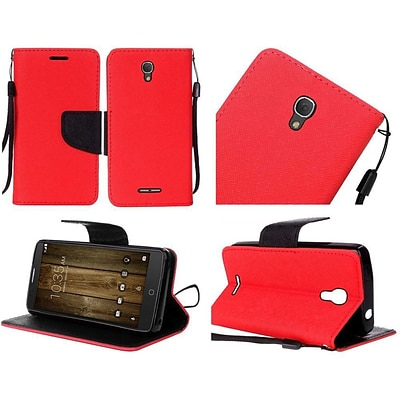 Insten Flip Leather Fabric Case Lanyard w/stand For Alcatel One Touch Fierce 4 / Pop 4 Plus - Red/Black