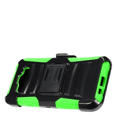 Insten Hard Hybrid Dual Layer Plastic Silicone Cover Case w/ Holster Clip for Samsung Galaxy E5 - Black/Green