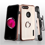 Insten Hard Hybrid Rubber Silicone Cover Case w/Holster For Apple iPhone 7 Plus - Rose Gold/Black