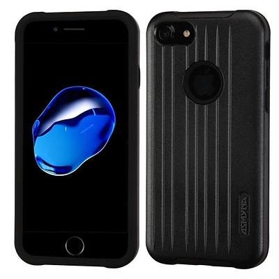 Insten Hard Dual Layer Rubber Coated Silicone Cover Case For Apple iPhone 7 - Black