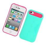 Insten Two-Tone/NightGlow Jelly Hybrid Hard Silicone Case Cover For Apple iPhone 4 / 4S - Green/Hot