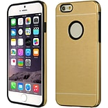 Insten Soft Dual Layer Rubber Aluminum Case For Apple iPhone 6 / 6s - Champagne Gold/Black