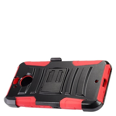 Insten Hybrid Hard Silicone Amor Shockproof Stand Holster Case Cover For HTC Bolt - Black/Red