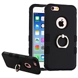 Insten Hard Dual Layer Rubber Silicone Cover Case w/Ring stand For Apple iPhone 6 / 6s - Black